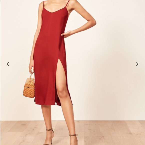 bff8ee73c9 Sexy Reformation Crimini red slip dress